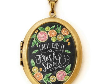Chalkboard Art Locket Necklace - Each Day Is A Fresh Start