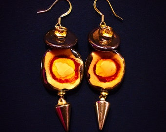 Bronze and Honey Kazuri Bead Earrings