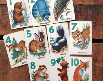 Vintage Cute Baby Animals Cards - Set of 13 - Animal Rummy