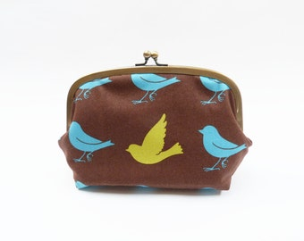 Brown, turquoise and green bird fabric cosmetic bag