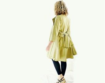 Green Herringbone Tweed Wool Coat with Belt