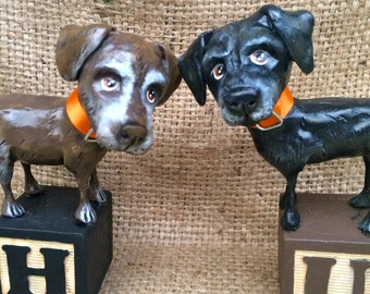 Personalized Dog Art set of Two folk art pet sculptures for the pet lover