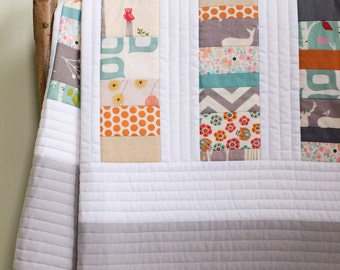 Woodland Toddler Quilt; Custom Organic Baby Quilt; Modern Patchwork Crib Quilt; Gray Nursery Decor; Handmade New Baby Gift, PATCHWORK STACKS