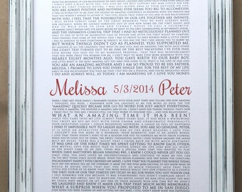 framed wedding vows one year anniversary personalized gift custom gift framed wedding keepsake typography wall art vertical 1503
