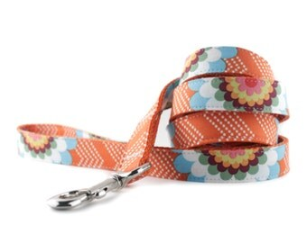 Orange Dog Leash - Orange Splash Dog Leash - Orange White Chevron Dot Leash - Dog Lead -  Colorful Flower Dog Leash