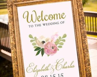 PRINTABLE - Blush & Gold Wedding Decor, Large Custom Wedding Sign, Vintage Wedding, Welcome Sign