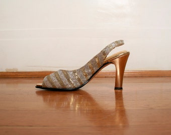 Vintage 1960s Heels - Golden Silver Metallic Champagne Tinsel Disco Heels - Size US 6 M