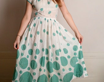 Vintage 1950s Dress - Mint Green Bubbles Circles Print Gauze Dress - Medium