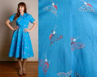 Vintage 1950s Dress & Blouse - Novelty Print Fancy Bug Butterfly Cotton Two Piece Set - Large