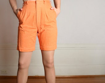Vintage 1960s Shorts - Creamsicle Orange High Waist Board Shorts - Small