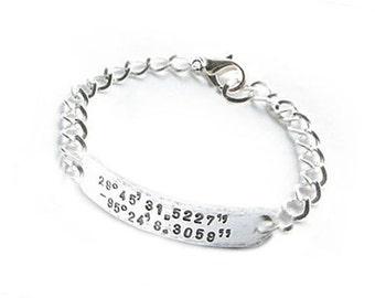 Silver Latitude Longitude Bracelet, Hand Stamped Bracelet, Hammered Bracelet, Men Woman Bracelet, GPS Coordinates Bracelet, Unisex Bracelet