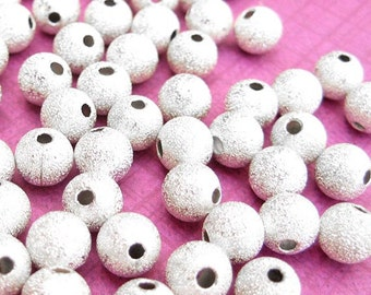 24 Stardust Beads, Silver Plated, Round Beads, 6mm Beads, 6mm Round Beads, Glitter Beads, Silver beads, Craft Beads, DIY Jewelry -- SP266B