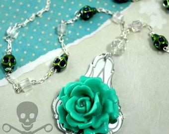BLUE LAGOON BLOSSOM-Seafoam Blue Rose Chandelier Pendant Necklace