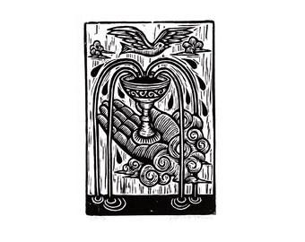 Art, Tarot Linocut Art Print, Ace of Cups Tarot Card Hand Pulled Woodcut Print, wall decor