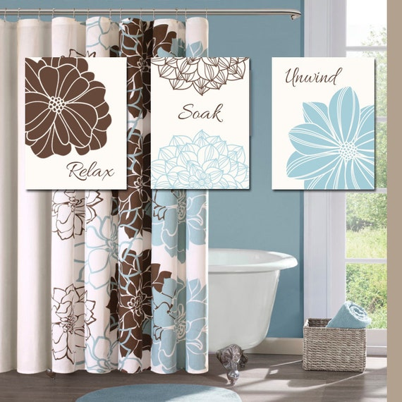 Bathroom decor wall art canvas or prints blue brown by for Bathroom decor green walls