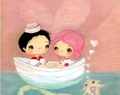 Sea Monster Print Couple Love Boat Nautical Sailor Art---The Love Ness Monster