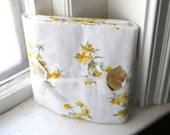 vintage all cotton bed sheet - new old stock - combed percale - yellow floral - twin flat - penneys