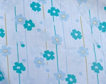 Vintage Blue Floral Fabric - Double Fitted Bed Sheet - Retro 60s