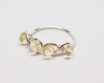 Argentium silver & faceted citrine double infinity wirework wrap ring