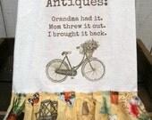 Antique Bike Shabby Prairie Farmhouse cotton Kitchen dish towel Tattered ruffles ECS RDT