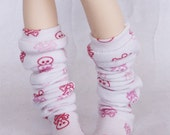 BJD MSD Minifee clothes Slouchy Pink skull print thigh socks MonstroDesigns  Ready to Ship MDm1365
