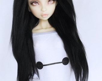 "BJD Doll wig MSD Unoa BJD 6"" Jet Black long in front fake fur wig Monstodesigns"