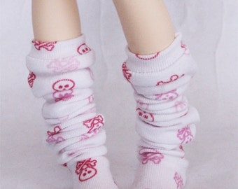 BJD MSD Minifee clothes Slouchy Pink skull print thigh socks MonstroDesigns  Ready to Ship MDm1365