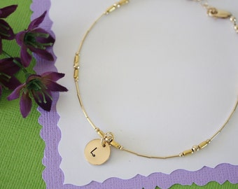 Gold Monogram Initial Anklet, Mom Charm Anklet, Gold Anklet, Beach, Vacation, Choose your Charm Anklet, Charm anklet