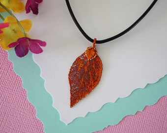 Copper Evergreen Leaf, Real Leaf, Evergreen Leaf, Copper Leaf , Real Leaf Necklace, LL83