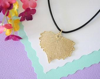 Gold Leaf Necklace, Real Leaf, Cottonwood Leaf Pendant, Gold Heart Shaped Leaf Necklace, Real Leaf Necklace, 24kt Gold Dipped Leaf, LL99