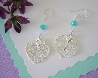 Teal Silver Aspen Leaf Earrings Small, Aspen Leaf, Small Size Earrings, Sterling Silver, Real Leaf Earrings, Bridesmaid Gift, LESM95