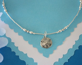 Anklet Silver Charm, Sand Dollar Charm, Sterling Silver Anklet, Choose your Charm Anklet