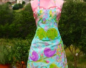 Original Hand Painted Wearable Art Apron Mixed Media Apron For the Artist Or Crafter Birds On A Wire