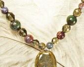 necklace with ceramic pendant Czech fire polished glass ocean jasper neutral jewel tones toni Kelly multi color beads