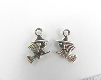 20 Witch Flying a Broom Charms in Antique Silver ~ 13mm x 10mm - Double Sided