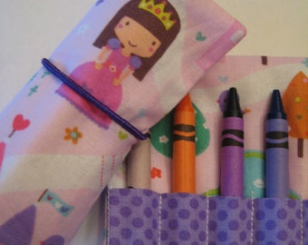 Princess Castle Crayon Roll Wallet  Includes 8 Crayons
