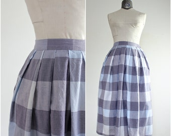 Plaid Skirt • Pleated Skirt • Cotton Skirt • Grey Plaid Skirt • Gray Plaid Skirt • Knee Length Skirt • XS Skirt • Vintage Skirt • XXS XS