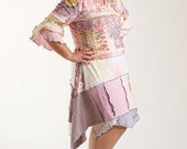 Size Large Upcycled Dress / Bohemian Recycled Tee-Shirt Dress/ Pink and Yellow/ brendaabdullah
