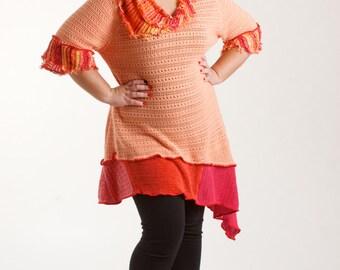 L-XL Ladies Bohemian Upcycled Tunic Top, Light Orange Summer Tunic/ brendaabdullah