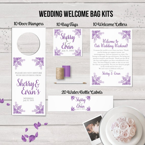 wedding welcome bag kit wedding favors welcome bags water bottle