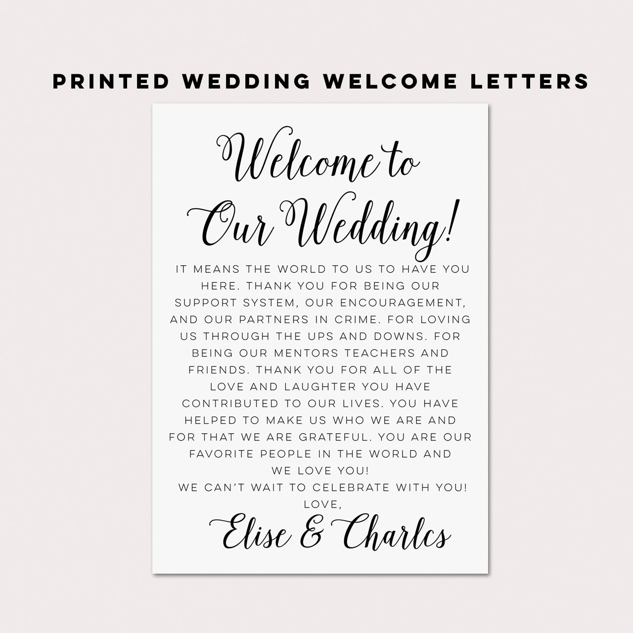 Wedding welcome letterswedding itinerarieswedding by for Wedding welcome gifts for out of town guests