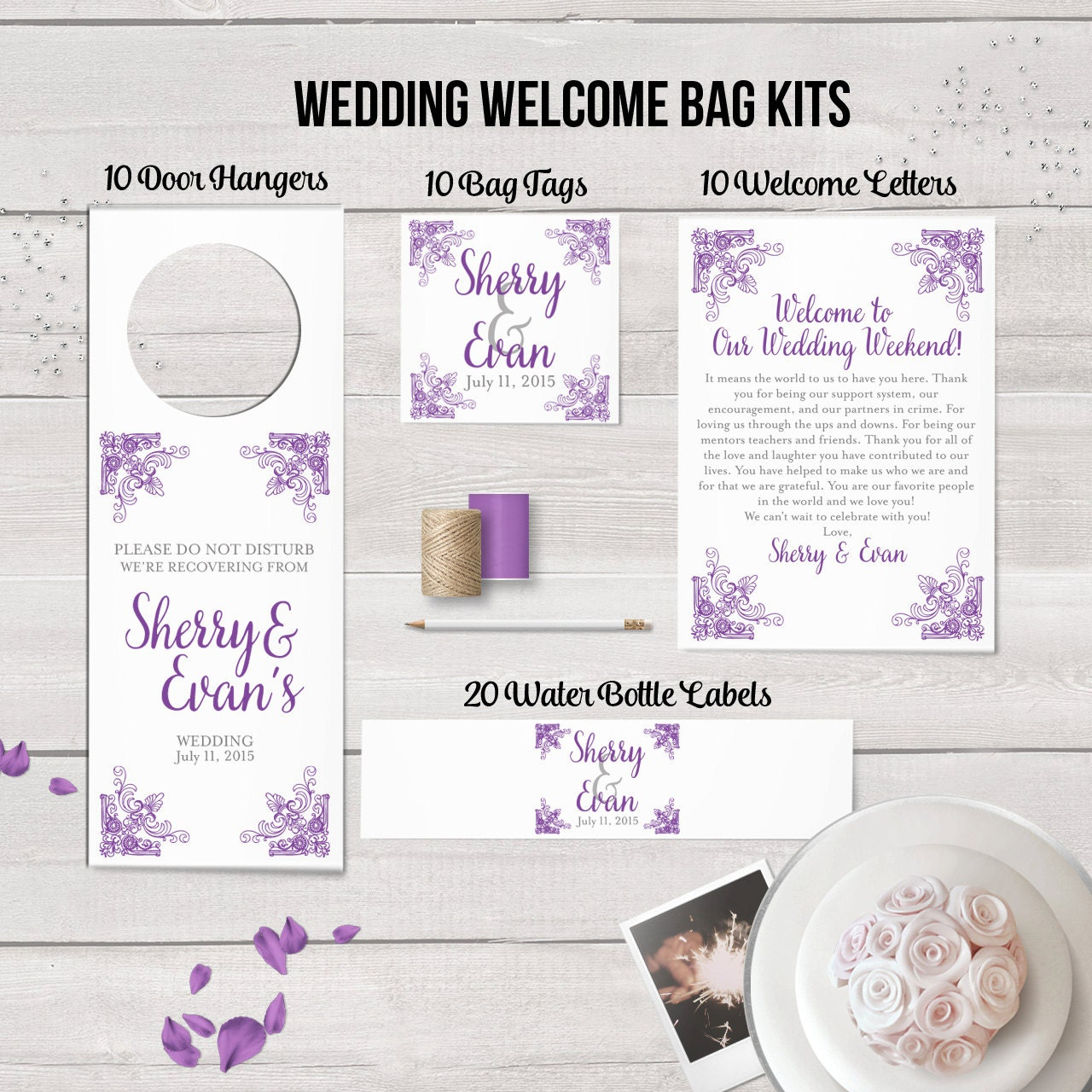 Wedding Hotel Gift Bag Message : Wedding Welcome Bag Kit Wedding Favors Welcome Bags Water