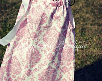 Pillowcase Dress Pink Glitter Damask with White Ribbon that Ties over One Shoulder.