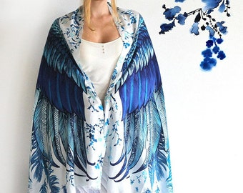 Wings scarf, bohemian bird feathers shawl, Blue, hand painted, digital print, sarong, perfect Valentine gifts