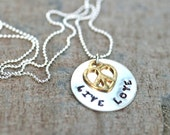 Live Love Peace Hand Stamped Mixed Metal Sterling Silver and 14KT Gold Filled Peace Charm Necklace, Heart Jewelry