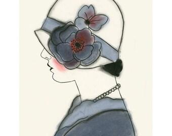 Art Deco print - art print . Art Deco Millie in Blue 4 X 6 print - 4 for 3 SALE