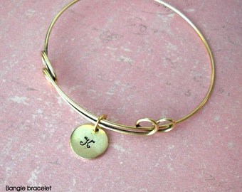 Bangle Charm Bracelet by Tipsy Whimsey .. Fully customizable .. Mini Medium Discs Pearl Crystal Anchor Love Hearts Initials Monogram Kids