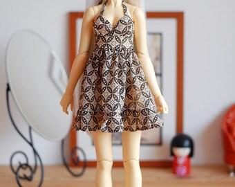 Babydoll dress in beige and brown geometric print chiffon - SD Delf BJD dolls