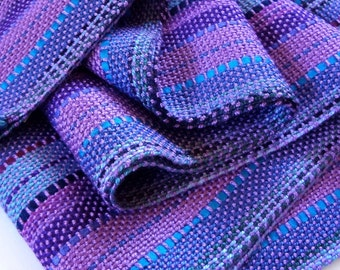 handwoven scarf in a blend of beautiful lavender purples and blues