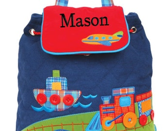 Boys Personalized Backpack Transportation Stephen Joseph Quilted Monogrammed